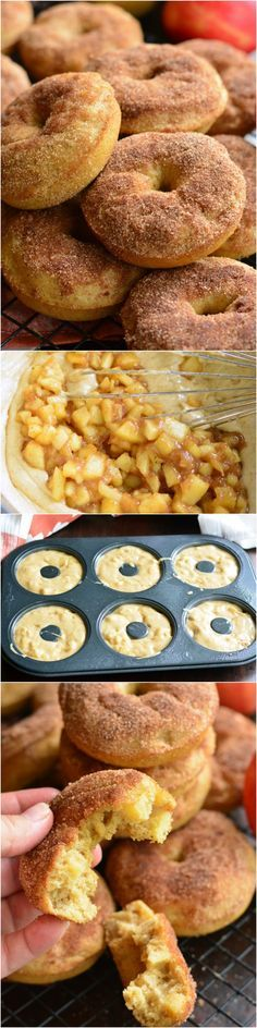 Apple Pie Baked Doughnuts. These delicious cake-like doughnuts are made with apple pie filling throughout and topped with some cinnamon sugar mixture.