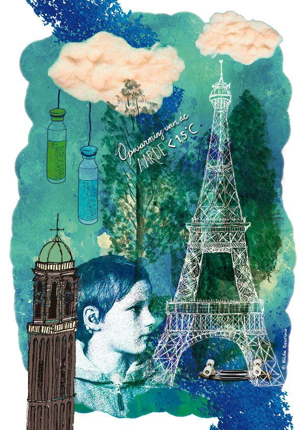 collage bij artikel Klimaattop in Parijs voor tijdschrift Zowell, illustratie van Hilde Reurink