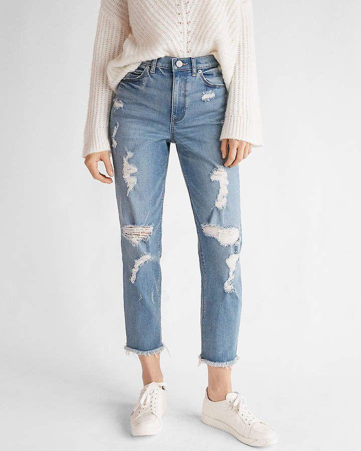 Express High Waisted Light Wash Distressed Original Girlfriend Jeans Pantalones De Moda Jeans De Moda Ropa De Moda