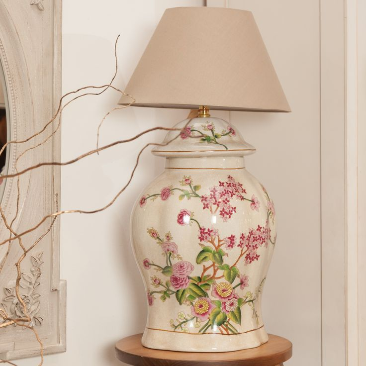 Tropical Flower Patterned Vase Lamps