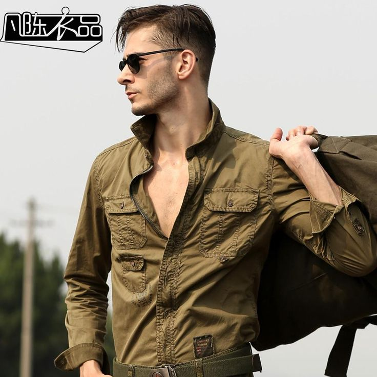 High Quality Men's Casual Long-Sleeved Cargo Shirt Plus Size Military Uniform Loose Shirt Mens Cotton-Padded Army Shirts A010