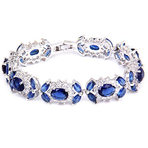 White Gold GP Oval Marquise Round Tennis Royal Blue Swarovski crystal CZ Bridal Wedding Bracelet ** Continue to the product at the image link.