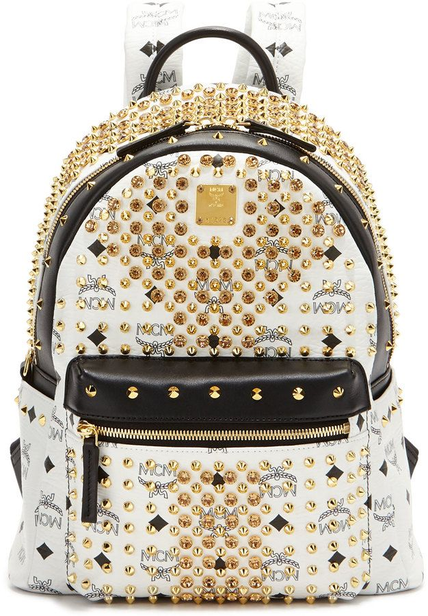 MCM Diamond Visetos Small Backpack, White on shopstyle.com