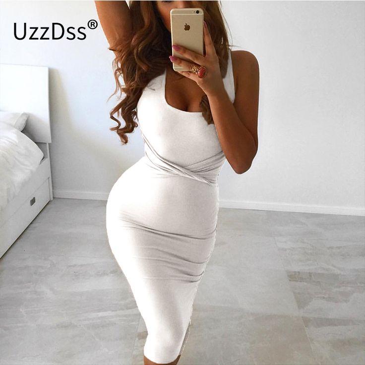 2017 sommer frauen sexy sleeveless weiß tank bodycon dress kreuz criss baumwollmischung club party dünne kleider vestidos schwarz dress
