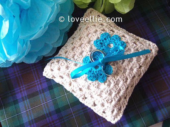 Handmade Crocheted Wedding Ring Bearer Pillow by Love Ellie
