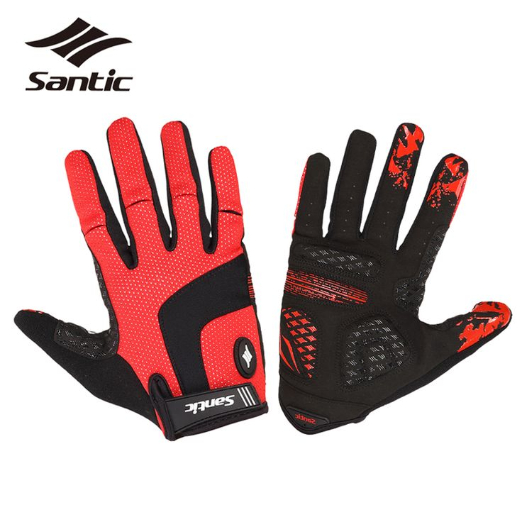 Santic Winter Thermal Long Finger Cycling Gloves Men Windproof Guantes Ciclismo Invierno Composite Gel Palm MTB Road Bike Gloves