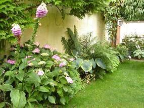 gemengde borders om de kleine tuin groter te laten lijken