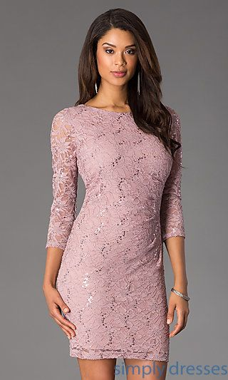 Short Lace Sequin Embellished Dress with Sleeves at SimplyDresses.com