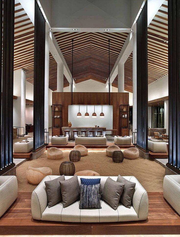 Lobby at the Andaz Maui Hotel designed by the Rockwell Group