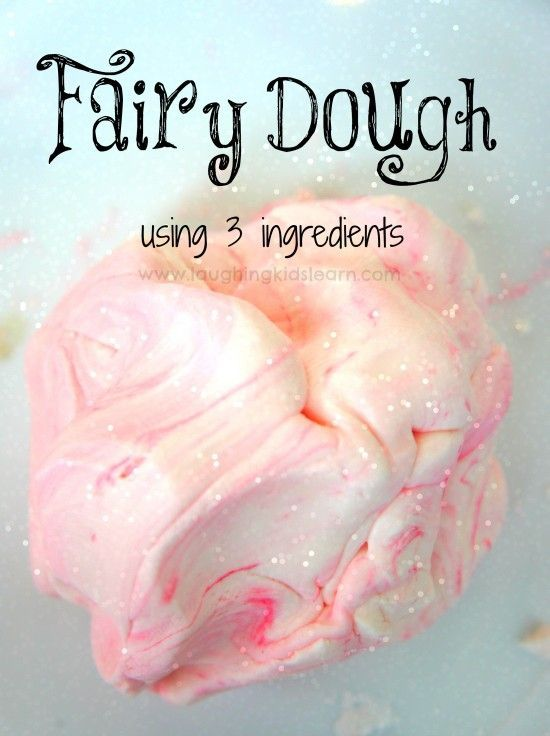 Fairy Playdough using three ingredients. So simple to make and soft texture when children play with it.