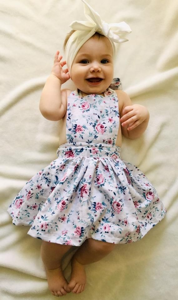 headwrap or hair clip Floral Pinafore Dress and Frilly Bloomers with optional headband