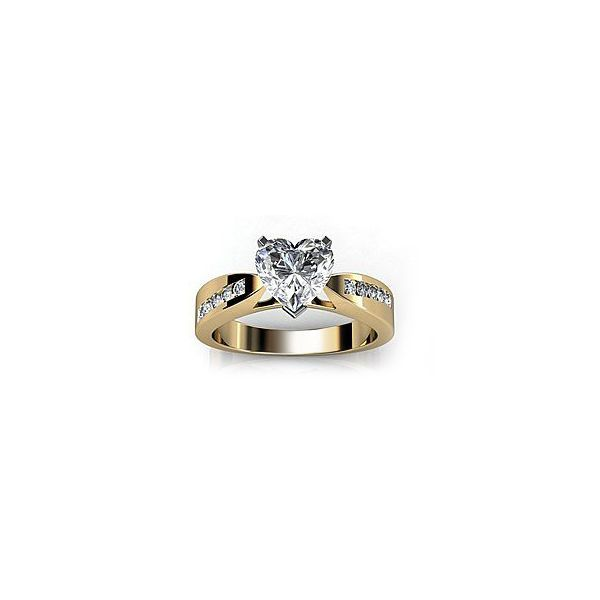 Heart Shape Sim Diamond 925 Silver 14K Solid Gold FN Solitaire with Accents Ring #br925 #SolitairewithAccents
