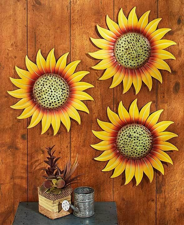 SUNFLOWERS - 3 METAL SPRING SUMMER GARDEN FENCE SHED GARAGE WALL DECOR PIECES #Unbranded