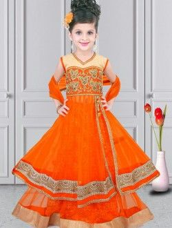 Pristine Orange Net Designer Kids Wear Lehenga Choli