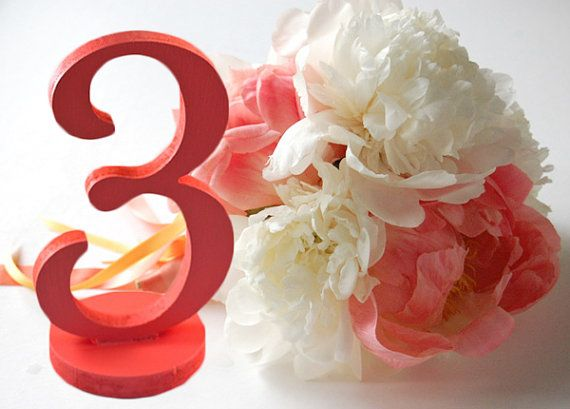 Table Numbers for Coral or Grey Weddings Decor by ZCreateDesign... ETSY!: Wedding Inspiration, Decor, Coral Table, Etsy, Wedding Ideas, Color, Weddings, Wedding Table Numbers, Coral Wedding