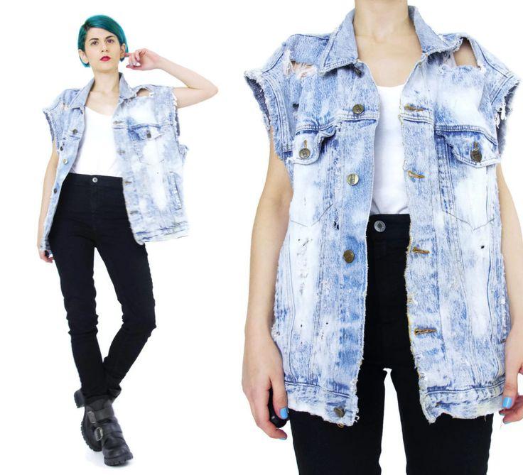 New to honeymoonmuse on Etsy: Vintage Bleached Denim Vest Ripped Distressed Frayed Holes Unisex Mens Womens Jean Vest Punk Rocker Sleeveless Denim Top Oversized (L/XL) (60.00 CAD)