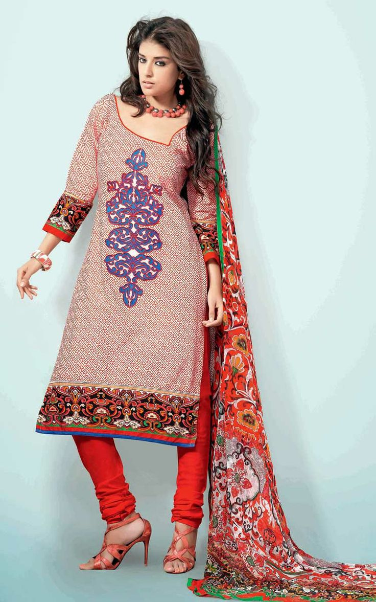 OFF WHITE & RED COTTON PRINTED SALWAR KAMEEZ - WIS 148