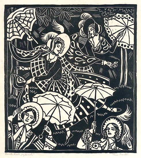 "Thea Proctor (Australian, 1879-1966) - ""Bonnets, Shawls, Gay Parasols"", 1938 - Linocut"