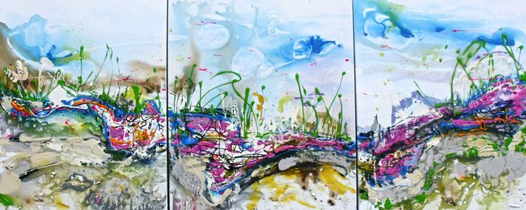 Donna Chudnow's abstract action painting is of the speed and fluidity of water in nature.