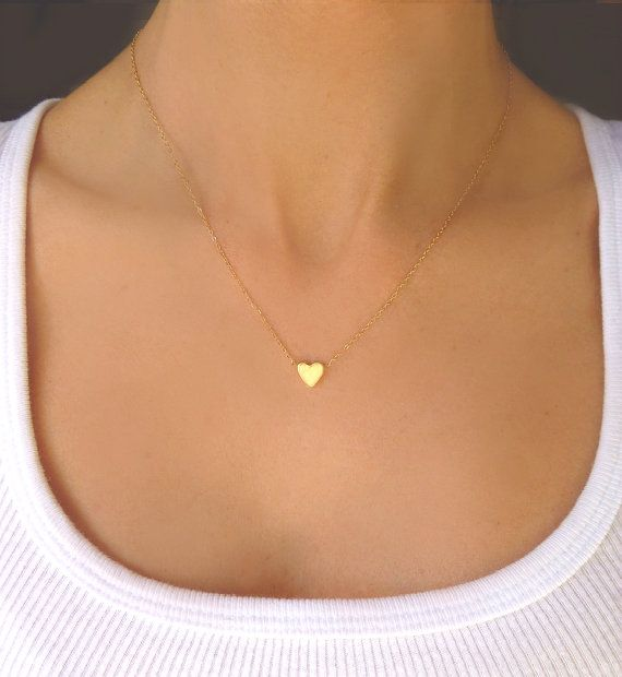 Tiny Heart Necklace -  Small Gold Heart Pendant Necklace - Dainty Charm Necklace - Simple Necklace - Love Jewelry - Mother Sister Wife Gift