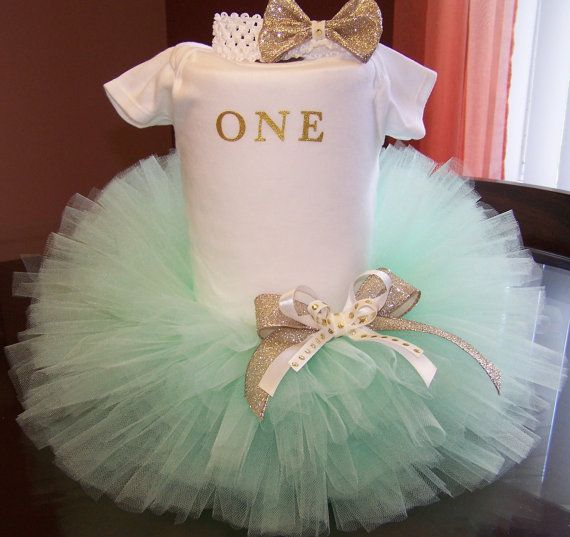 Mint green & Gold tutu/matching headband/First Birthday Outfit/Smashcake…