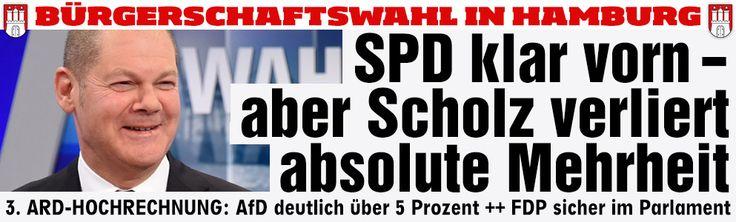 lol...like predicted, no absolute majority for SPD to govern alone in Hamburg lol... Scholz verfehlt wohl absolute Mehrheit SPD bekommt laut ARD-Hochrechnung 46,5 Prozent ++ CDU stürzt ab auf 16,0 Prozent ++ FDP stoppt Abwärtstrend, kommt auf 7,1 Prozent ++ AfD zieht mit 5,8 Prozent in die Bürgerschaft ein http://www.bild.de/politik/inland/wahlen-hamburg/ergebnisse-zur-hamburg-wahl-haelt-buergermeister-olaf-scholz-die-absolute-mehrheit-39782464.bild.html