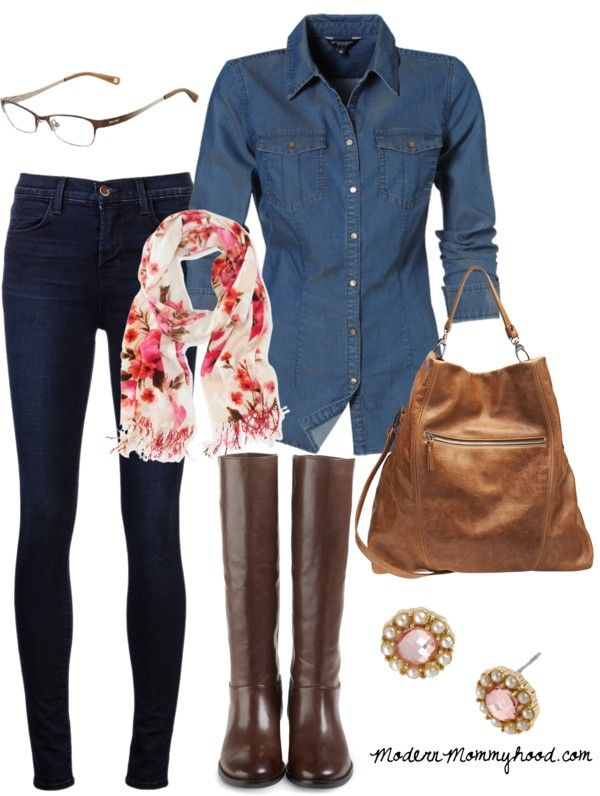 Love blue denim shirts but didn't know how to wear em. Add saddle brown accessories and print scarf with cream, rusts and oranges. Blue denim or brown jeans/skinnies with the right accessories for color of jeans.