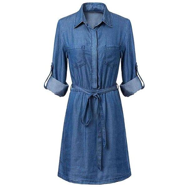 Belted Denim Dress ($16) ❤ liked on Polyvore featuring dresses, denim shirt-dress, elastic waist dress, belted dress, shirt-dress and denim dress