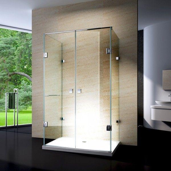 Duschkabine U-Form 8 mm Nano Echtglas EX412 - 120 x 90 x 195 cm - inkl. Duschtasse günstig online kaufen