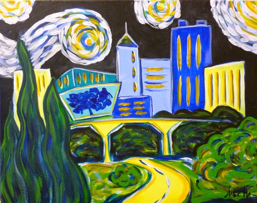 Raleigh starry night skyline at wine and design in cary nc for Paint and wine raleigh