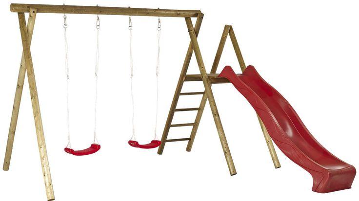 Der Klassiker - Doppelschaukel und Rutsche in Rot Spielplatz für Kinder im eigenen Garten? Kein Problem mit dieser tollen Rutschen/Schaukel-Kombination.