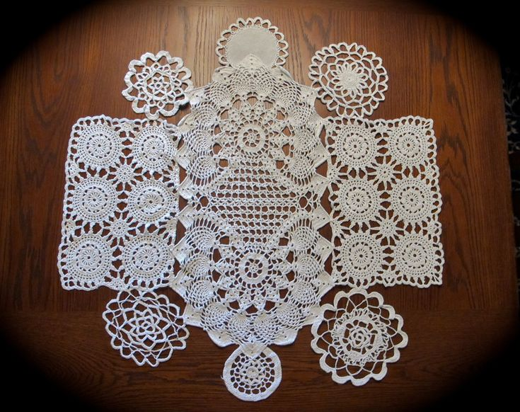 """White doilies lace round table topper for weddings - 30"""" diameter. $28.50, via Etsy."""