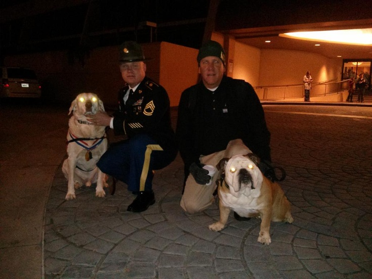 Tillman, his dad Ron with Chuck and Gabe, winner of the Hero Dog Award before the Rose Parade 2013