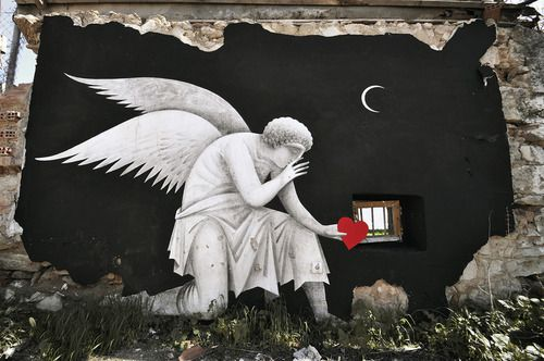 Global Street Art • Stunning work by Fikos with a beautiful use of the space. From Athens.