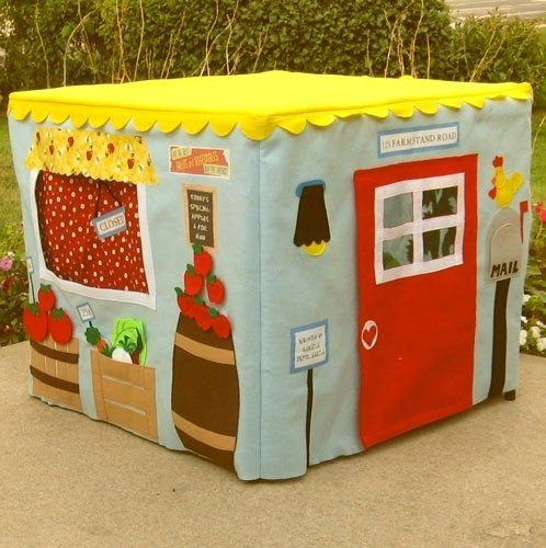 fabric card table playhouse. How amazing. If only I had skills.