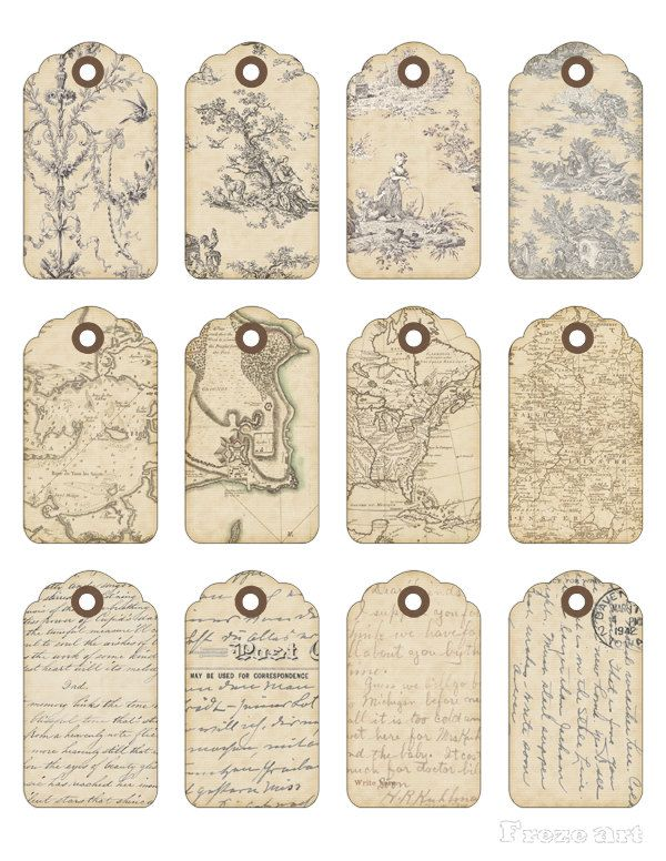 Digital Collage Sheet - Printable Gift Tags - Vintage Printable - VINTAGE ORNAMENTS