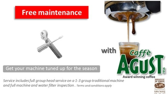 Free Maintenance for your coffee machine