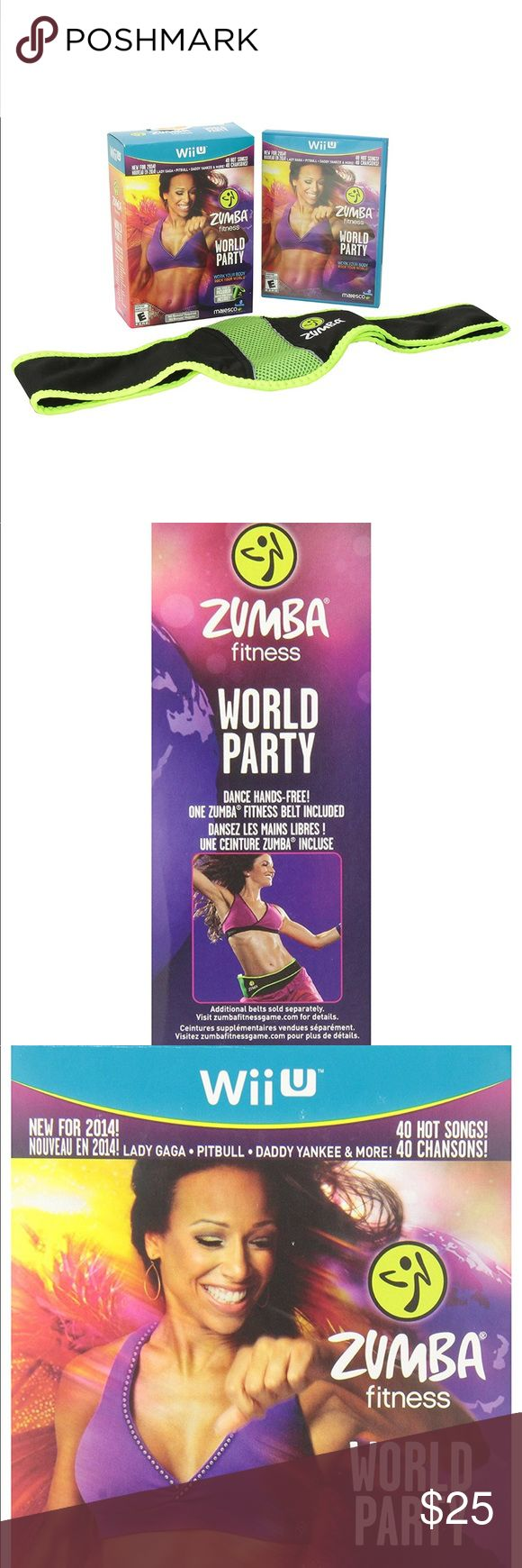 Zumba World Party DVD and Belt Included NWT Get fit to 40+ new routines and songs including chart-topping hits from Lady Gaga, Daddy Yankee and Pitbull, fresh Zumba originals and eclectic tracks from regional musicians. This DVD set is for WiiU. Make an offer today! :) Zumba Fitness Other