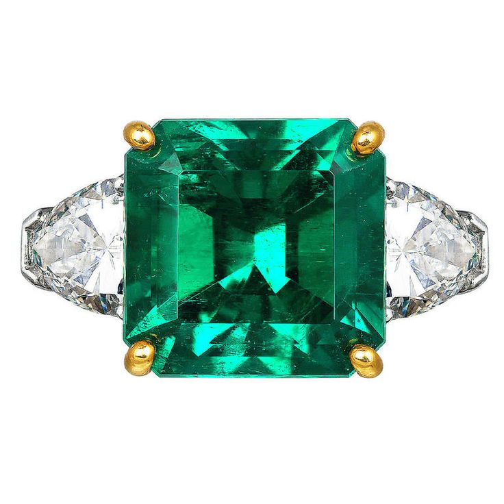 5.72 Carat Colombian Emerald Diamond Platinum Ring | See more rare vintage Three-Stone Rings at https://www.1stdibs.com/jewelry/rings/three-stone-rings