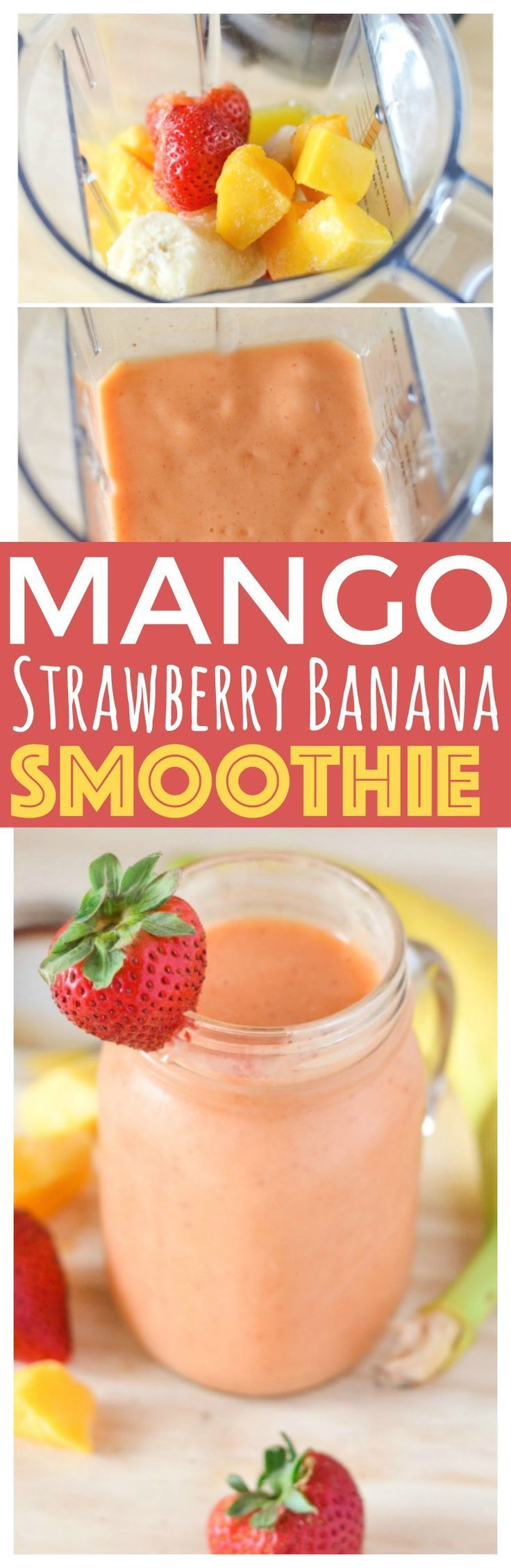 Quick and easy lunch, Mango Strawberry Banana Smoothie you can have a tasty and fulfilling lunch in less than 5 minutes serve healthy salad. via @CourtneysSweets (healthy shakes and smoothies)