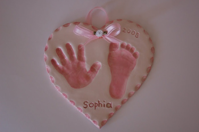 Handprint & Footprint plaque keepsake wall hanging