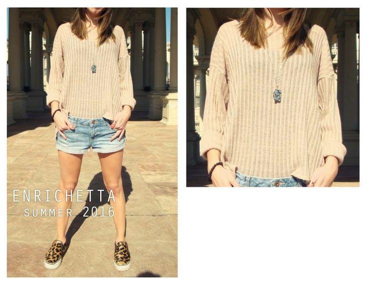 NOA Sweater de hilo color natural.  www.enrichetta.com.ar