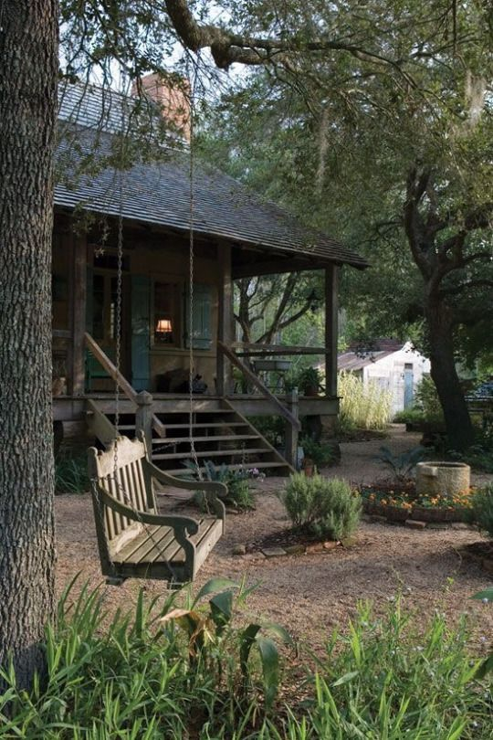 Cabin in the woods.  Such a peaceful setting.