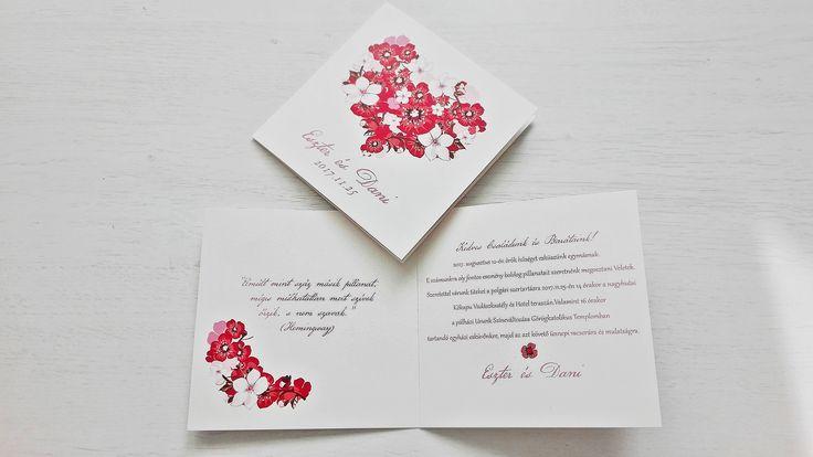 Szives esküvői meghívó  - heart wedding invitation