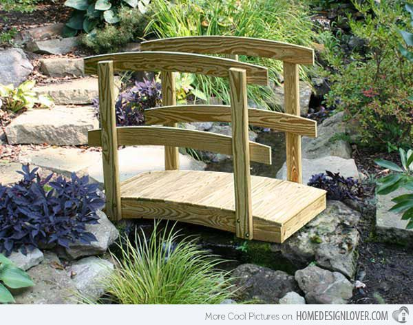 15 Whimsical Wooden Garden Bridges | Home Design Lover this is perfect for girl scout bridging ceremony