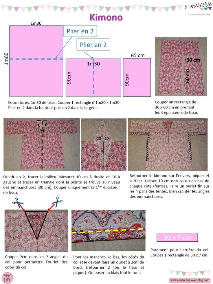 patron couture kimono japonais