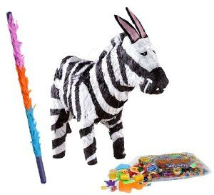 Zebra Pinata Kit - Includes Pinata, 2Lb Filler and Buster Stick by Pinatas.com. $35.98. Pinata filler includes approximately 2 pounds of candy and toys, including Laffy Taffy, Smarties, Tootsie Rolls and other brand candy. Caution: not recommended for children under 3 years of age.. Pinata measures approximately 16 quot; x 21 quot; x 5 quot;. Buster bat is made of hard plastic and measures approximately 30 quot;. Caution: use only under adult supervision.. Thi...