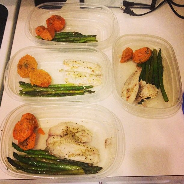 pre-packing meals Tilapia, sparragos, sweet potatoes
