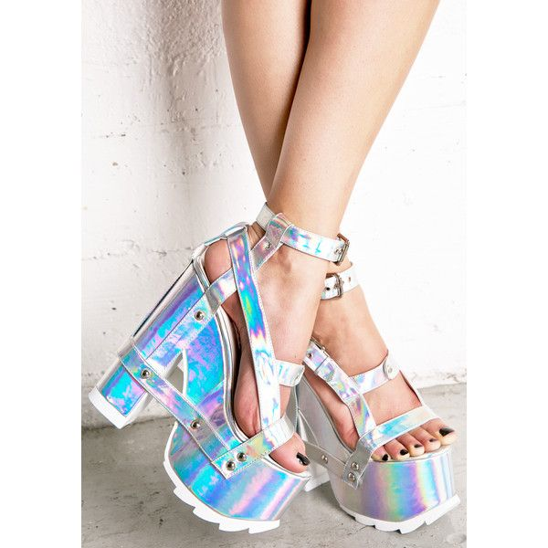 Y.R.U. Holographic Nightcall Platform Heels (165 CAD) ❤ liked on Polyvore featuring shoes and sandals