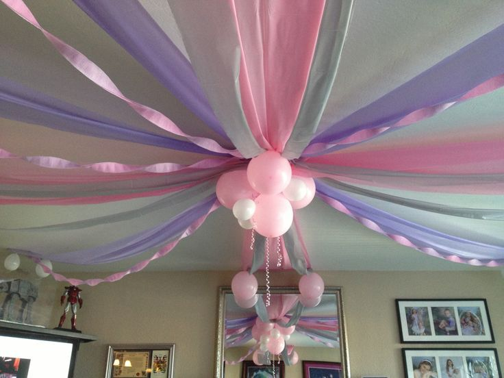 Decorating With Streamers And Balloons Baby girl\x26#39;s first birthday ceiling \x3cb\x3edecorations\x3c/b\x3e. cut plastic \x3cb\x3e\x3c/b\x3e